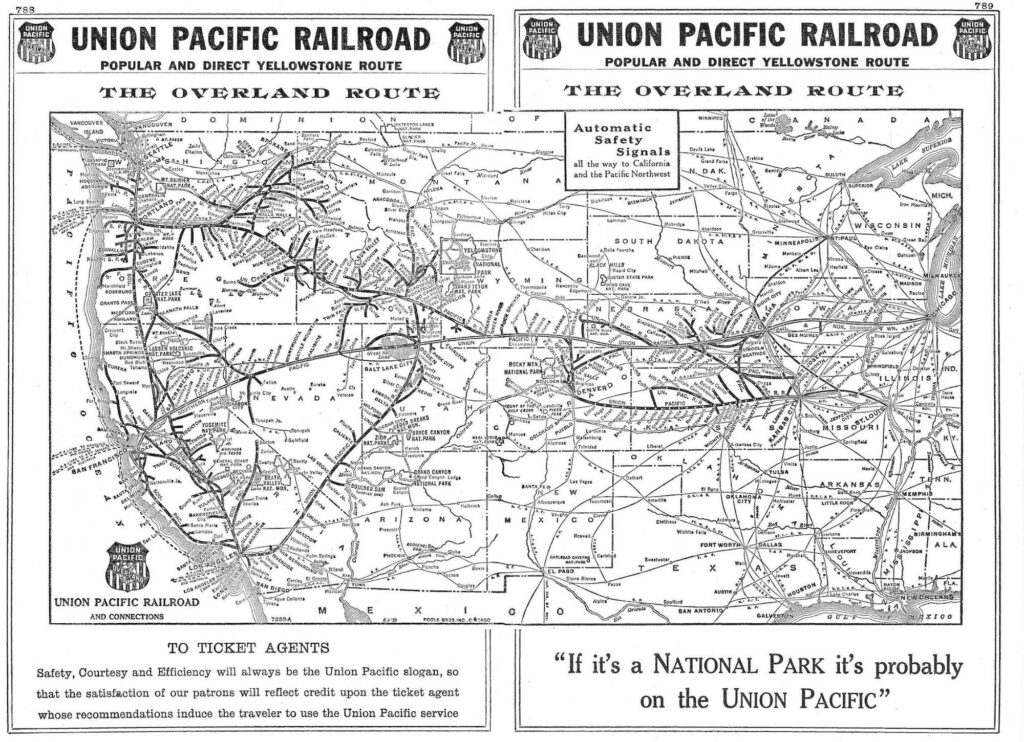 1939 map of Union Pacific's route to Los Angeles via Las Vegas and its subsidiary Los Angeles & Salt Lake Railroad